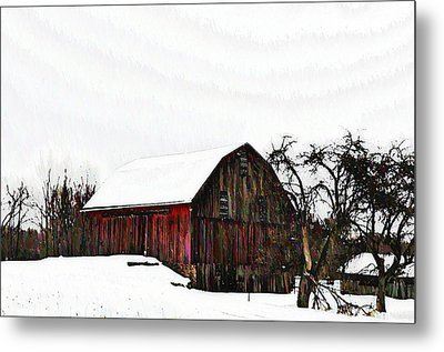 Red Barn In Snow Metal Print by Bill Cannon