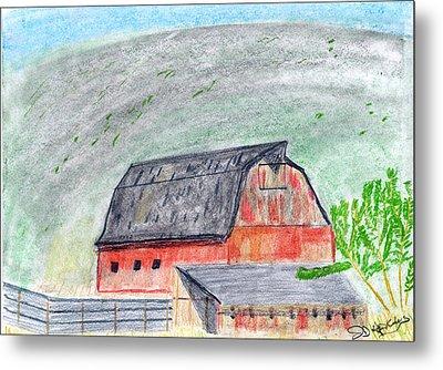 Red Barn Metal Print by John Hoppy Hopkins