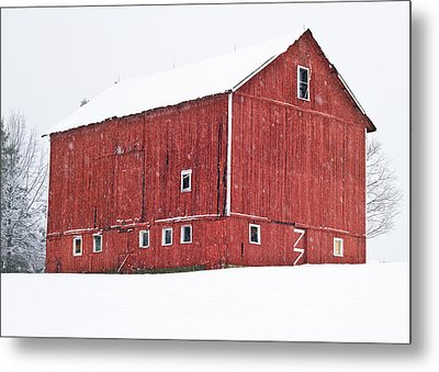 Red Barn Snow Storm  Metal Print by Tim Fitzwater