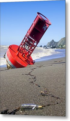 Red Bell Buoy On Beach With Bottle Metal Print by Garry Gay