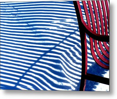 Red Bench Metal Print by Steven Huszar