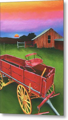 Red Buckboard Wagon Metal Print by Stephen Anderson