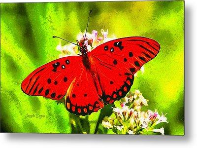 Red Butterfly - Da Metal Print by Leonardo Digenio