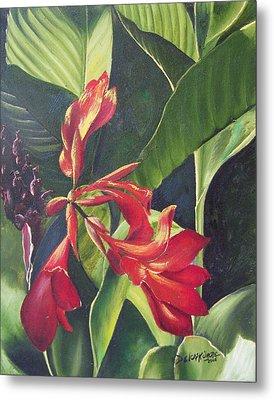 Red Cannas Metal Print by Deleas Kilgore