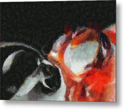 Red Circle Abstract Metal Print by Russ Harris