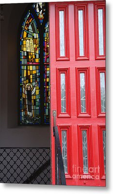Red Door At Church In Front Of Stained Glass Metal Print by David Bearden