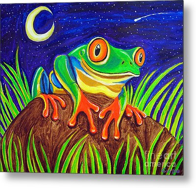 Red-eyed Tree Frog And Starry Night Metal Print by Nick Gustafson