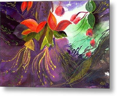 Red Flowers Metal Print by Anil Nene
