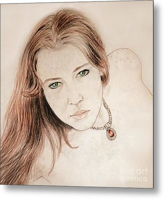 Red Hair And Freckled Beauty Metal Print by Jim Fitzpatrick