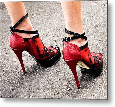 Red Heels Metal Print by Marion McCristall