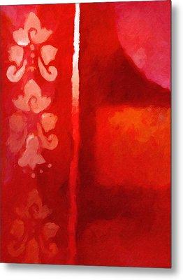 Red Impasto Metal Print by Lutz Baar