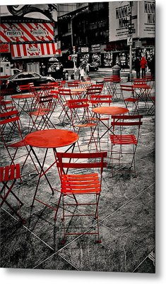 Red In My World - New York City Metal Print by Angie Tirado