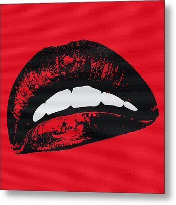 Red Lips Metal Print by Edouard Coleman