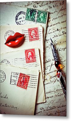 Red Lips Pin And Old Letters Metal Print by Garry Gay