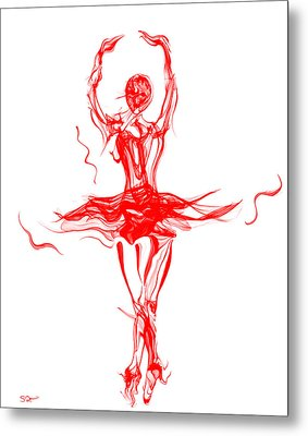 Red Lipstick Ballerina Twirling Metal Print by Abstract Alien Artist Stephen Killeen