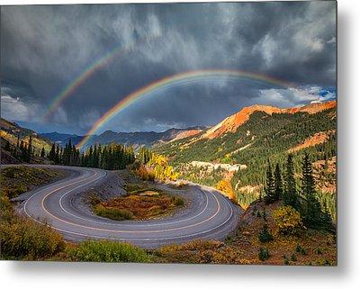 Red Mountain Rainbow Metal Print by Darren  White