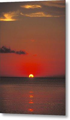 Red Orange Sunset On Horizon Metal Print by James Forte