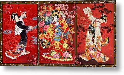 Red Oriental Trio Metal Print by Haruyo Morita