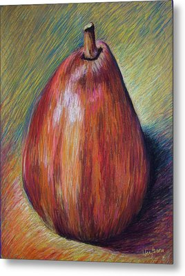 Red Pear Metal Print by Hillary Gross
