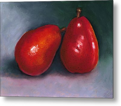 Red Pear Pair Metal Print by Joyce Geleynse