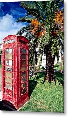 Red Phone Booth Bermuda Metal Print by George Oze