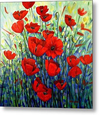 Red Poppies Metal Print by Georgia  Mansur