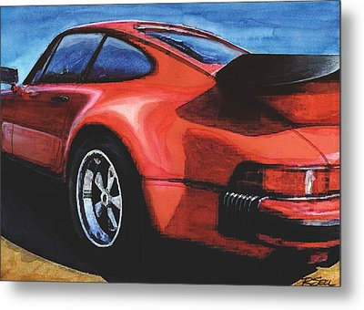 Red Porsche 930 Turbo Metal Print by Rod Seel