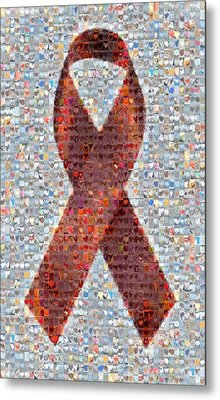 Red Ribbon To Benefit Cap Metal Print by Boy Sees Hearts