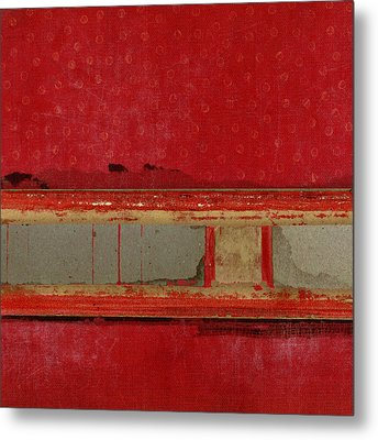 Red Riley Collage Square 1 Metal Print by Carol Leigh