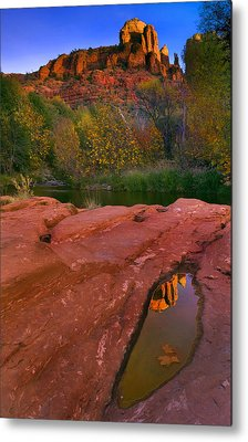 Red Rock Reflection Metal Print by Mike  Dawson