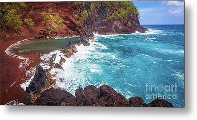 Red Sand Beach Panorama Metal Print by Inge Johnsson
