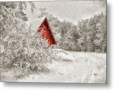 Red Shed In The Snow Metal Print by Lois Bryan