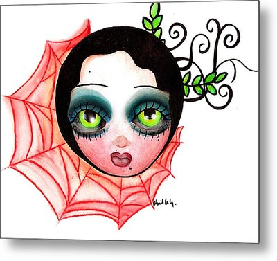 Red Spider Web Metal Print by  Abril Andrade Griffith