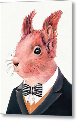 Red Squirrel Metal Print by Animal Crew