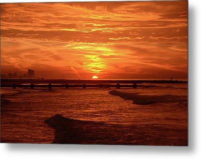 Red Sunrise - Ocean City New Jersey Metal Print by Bill Cannon