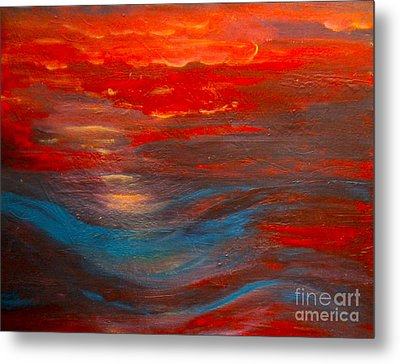 Red Sunset Abstract  Metal Print by Nancy Rucker