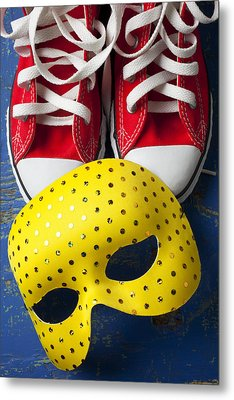 Red Tennis Shoes And Mask Metal Print by Garry Gay