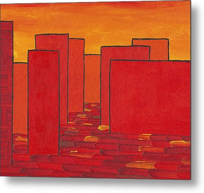Red Town P2 Metal Print by Manuel Sueess