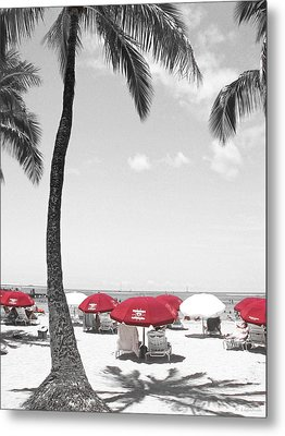Red Umbrellas On Waikiki Beach Hawaii Metal Print by Kerri Ligatich