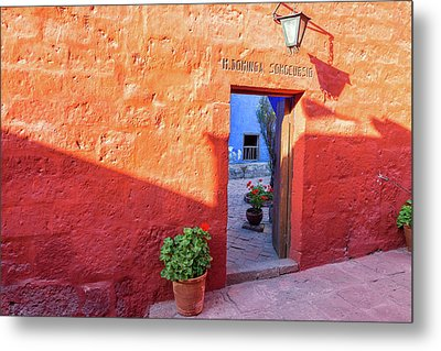 Red Wall In Santa Catalina Monastery Metal Print by Jess Kraft