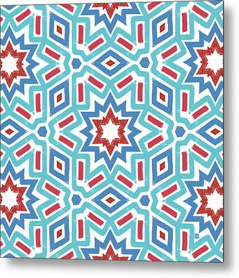 Red White And Blue Fireworks Pattern- Art By Linda Woods Metal Print by Linda Woods