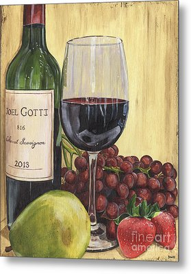 Red Wine And Pear 2 Metal Print by Debbie DeWitt