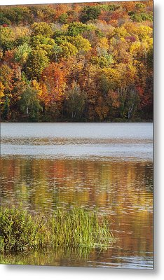 Reflection Of Autumn Colors In A Lake Metal Print by Susan Dykstra