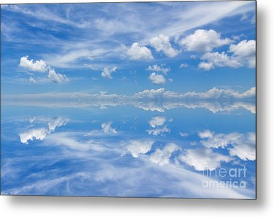 Reflection Of Beautiful Blue Sky With Clouds Metal Print by Unknow