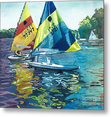 Reflections After The Race Metal Print by LeAnne Sowa