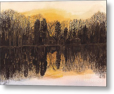 Reflections At Sunset On Bitely Lake Metal Print by Conni Schaftenaar