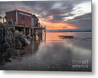 Reflections Of A Maine Fishing Shack Metal Print by Benjamin Williamson
