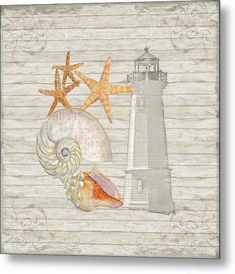 Refreshing Shores - Lighthouse Starfish Nautilus N Conch Over Driftwood Background Metal Print by Audrey Jeanne Roberts
