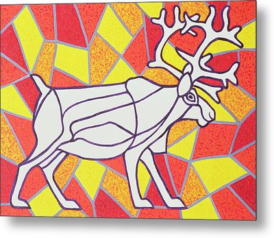 Reindeer On Stained Glass  Metal Print by Pat Scott