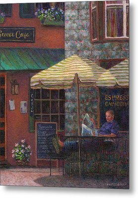 Relaxing At The Cafe Metal Print by Susan Savad